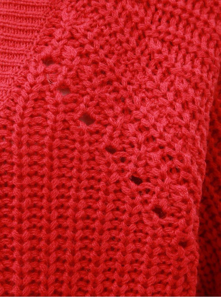 Červený kardigan s příměsí vlny VILA Cabla