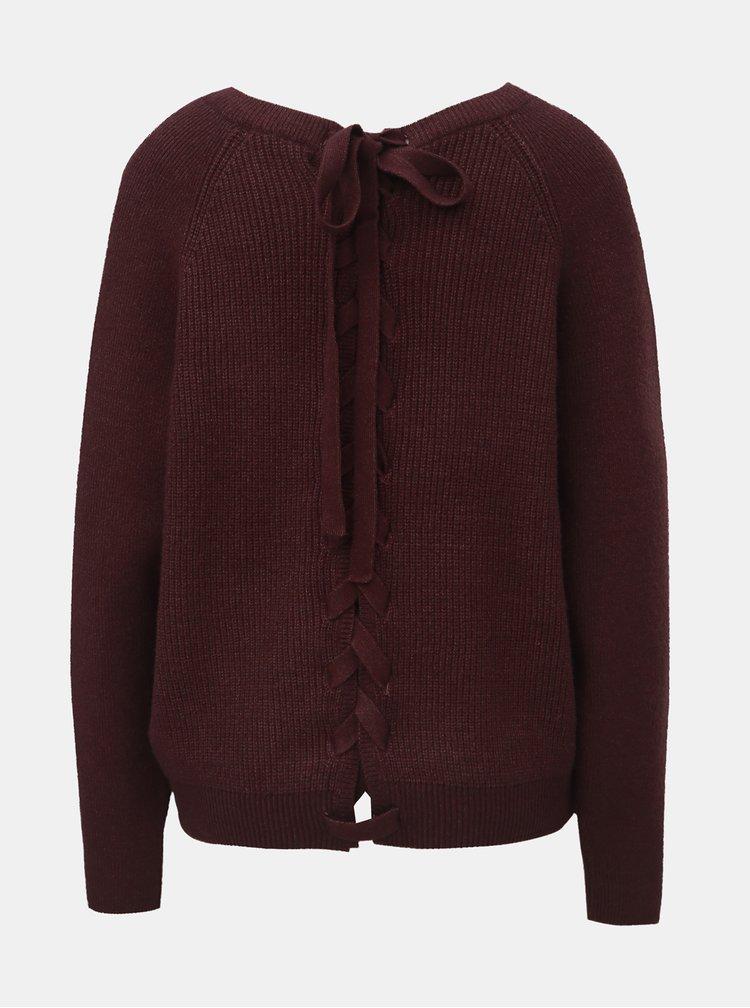 Vínový sveter so zaväzovaním na chrbte VILA Sia
