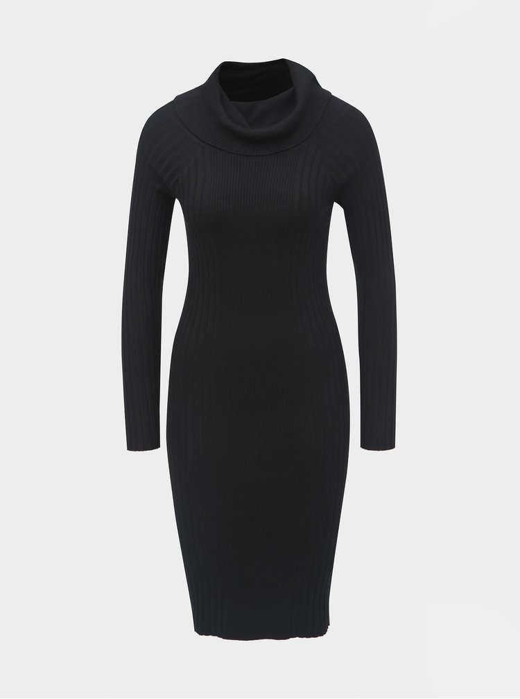 Rochie mulata neagra tricotata cu guler si maneci lungi Noisy May Vicki