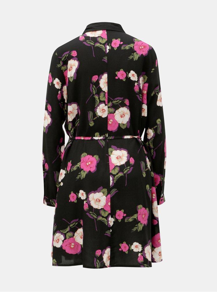 Čierne košeľové kvetované šaty Jacqueline de Yong Gitte