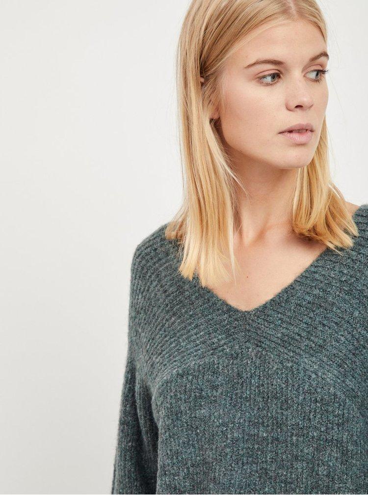 Tmavozelený melírovaný sveter VILA Disa