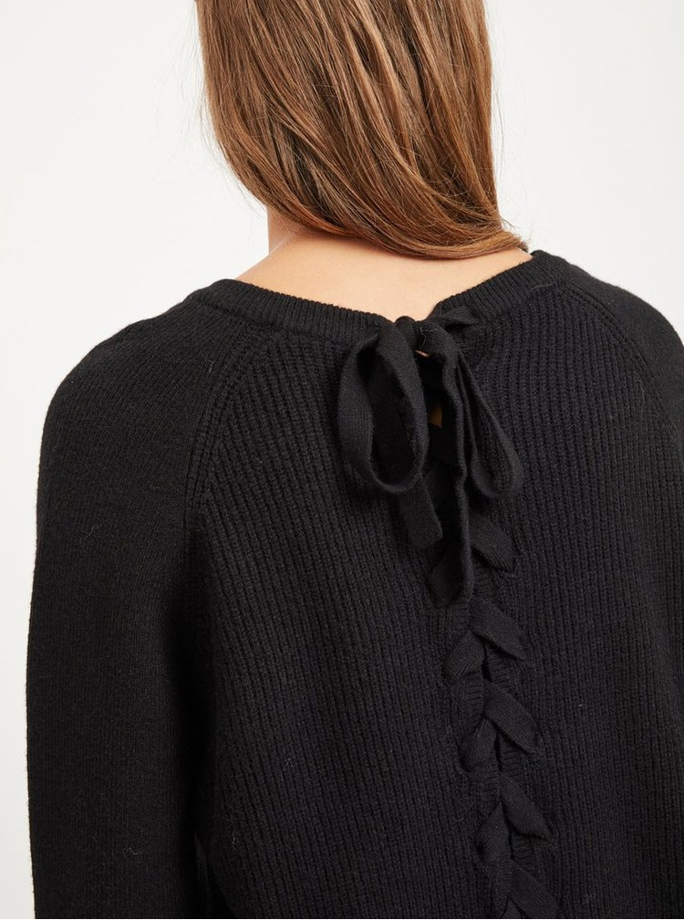 Pulover negru cu snur la spate VILA Sia