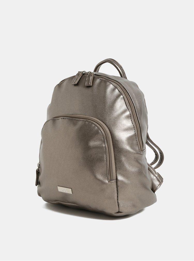 Batoh ve stříbrné barvě s metalickými odlesky a přední kapsou ZOOT