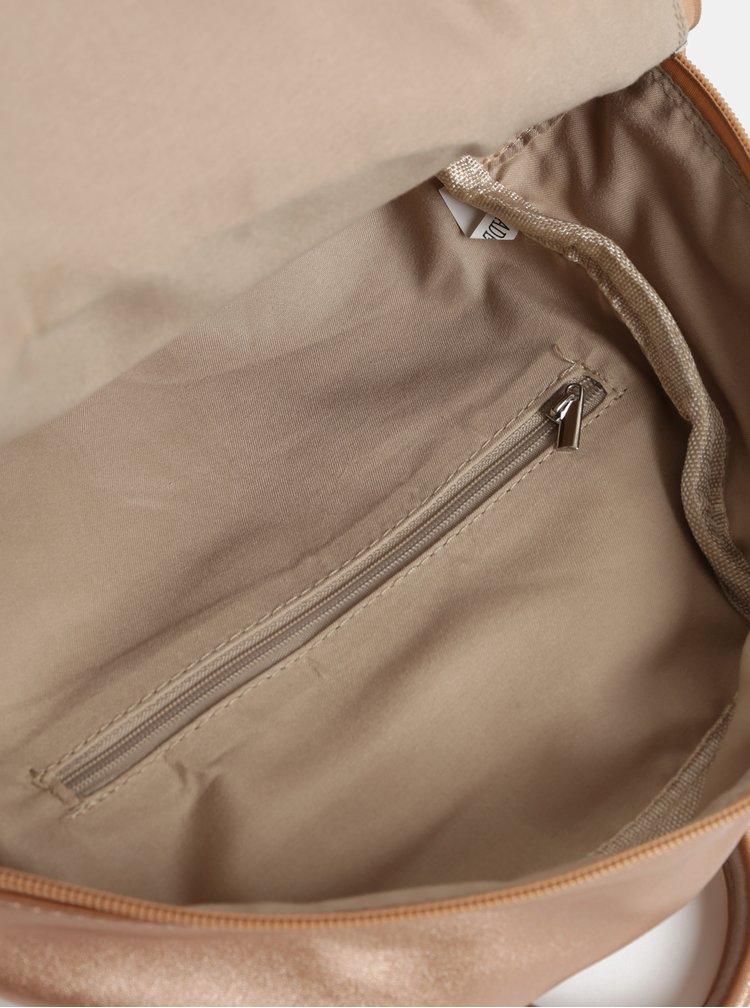 Růžovozlatý batoh s metalickými odlesky a přední kapsou ZOOT