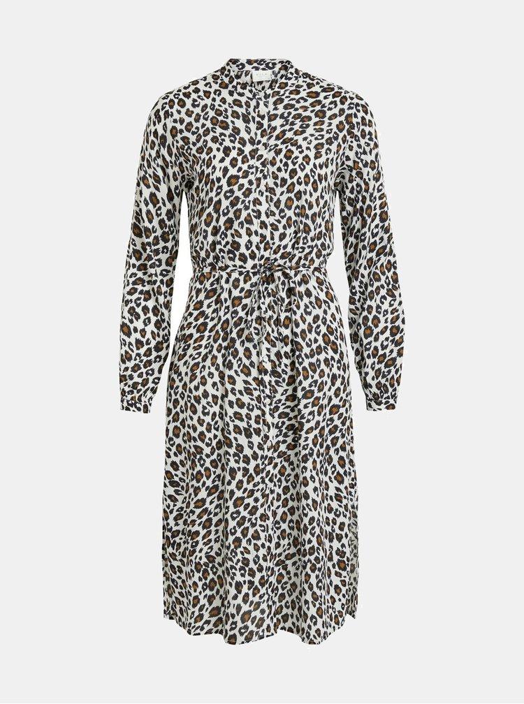 Rochie tip camasa alba cu model leopard VILA Kamia