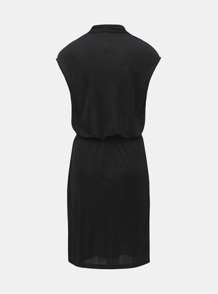 Čierne šaty bez rukávov s prekladaným výstrihom VILA Satina