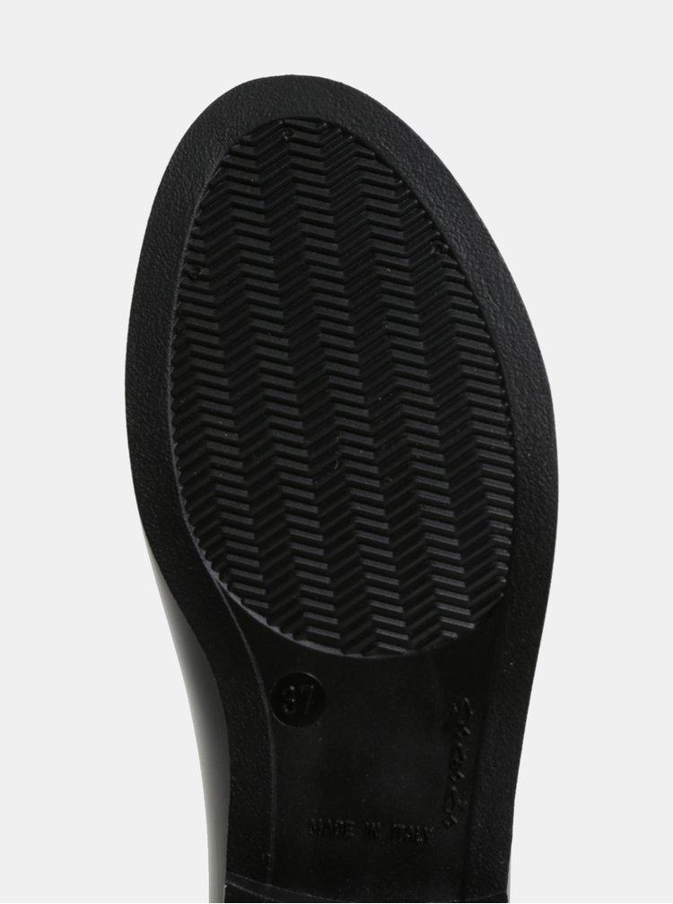 Černé lesklé holínky s plastickým vzorem OJJU