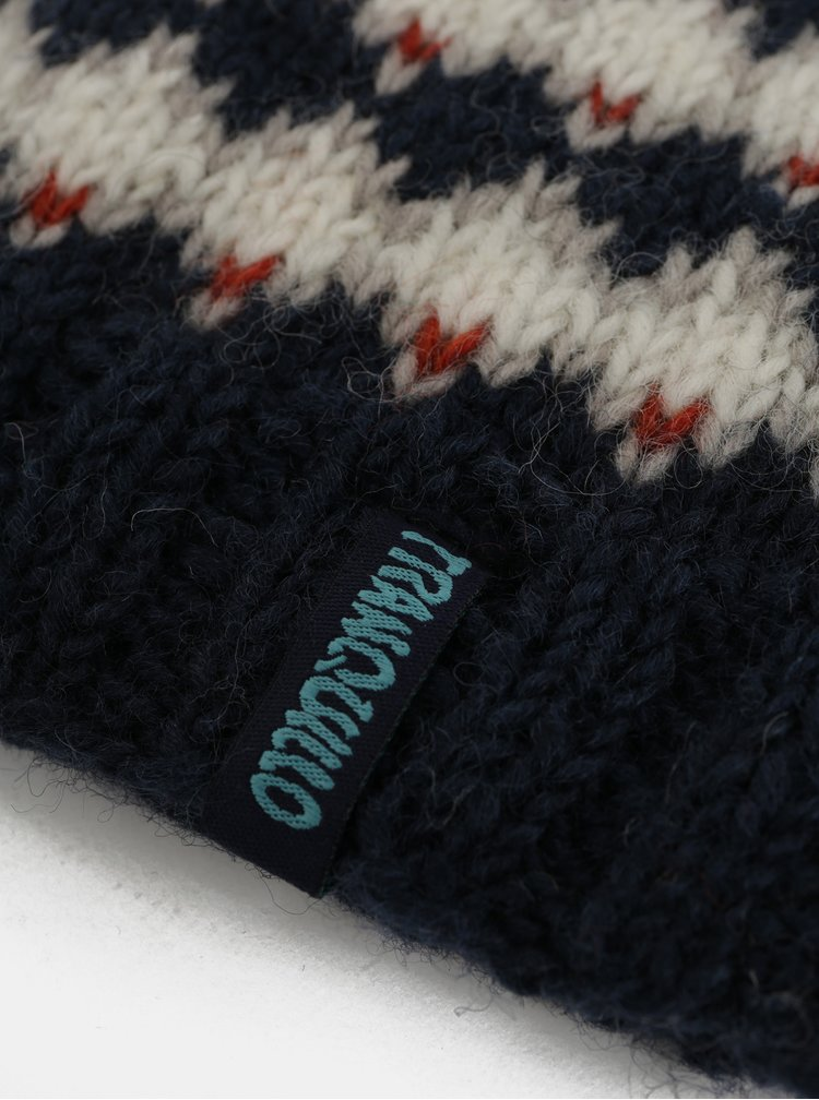 Bílo-modrá vzorovaná vlněná čepice Tranquillo Quintus