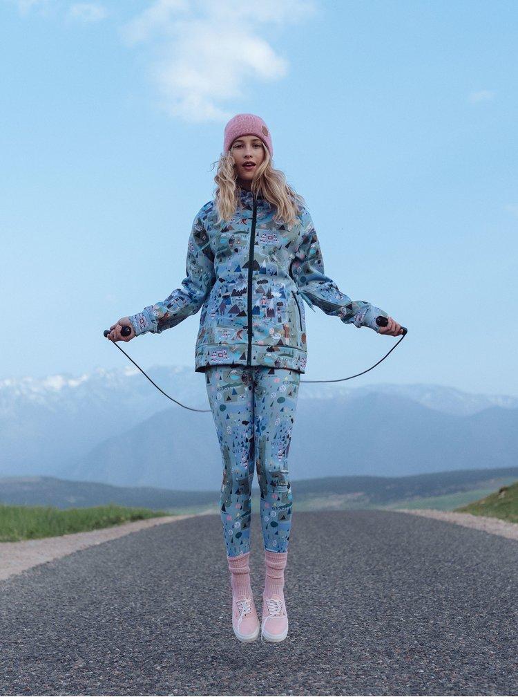 Leggings termoizolatori albastru deschis cu model Femi Stories
