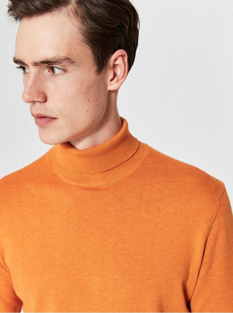 Oranžový sveter s rolákom a prímesou hodvábu Selected Homme Tower