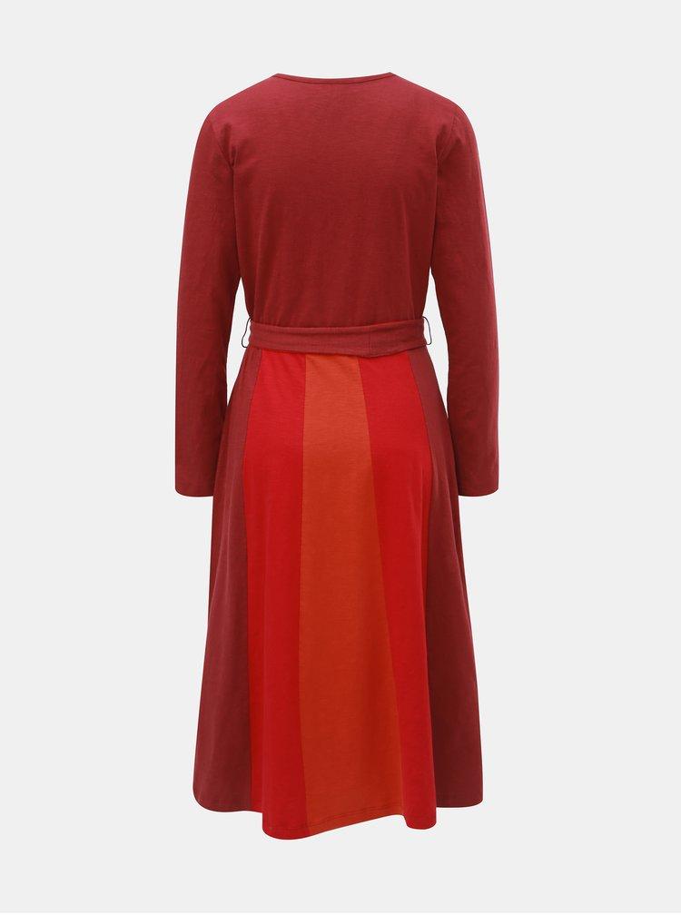 Cihlové šaty s překládaným výstřihem Tranquillo Pandina