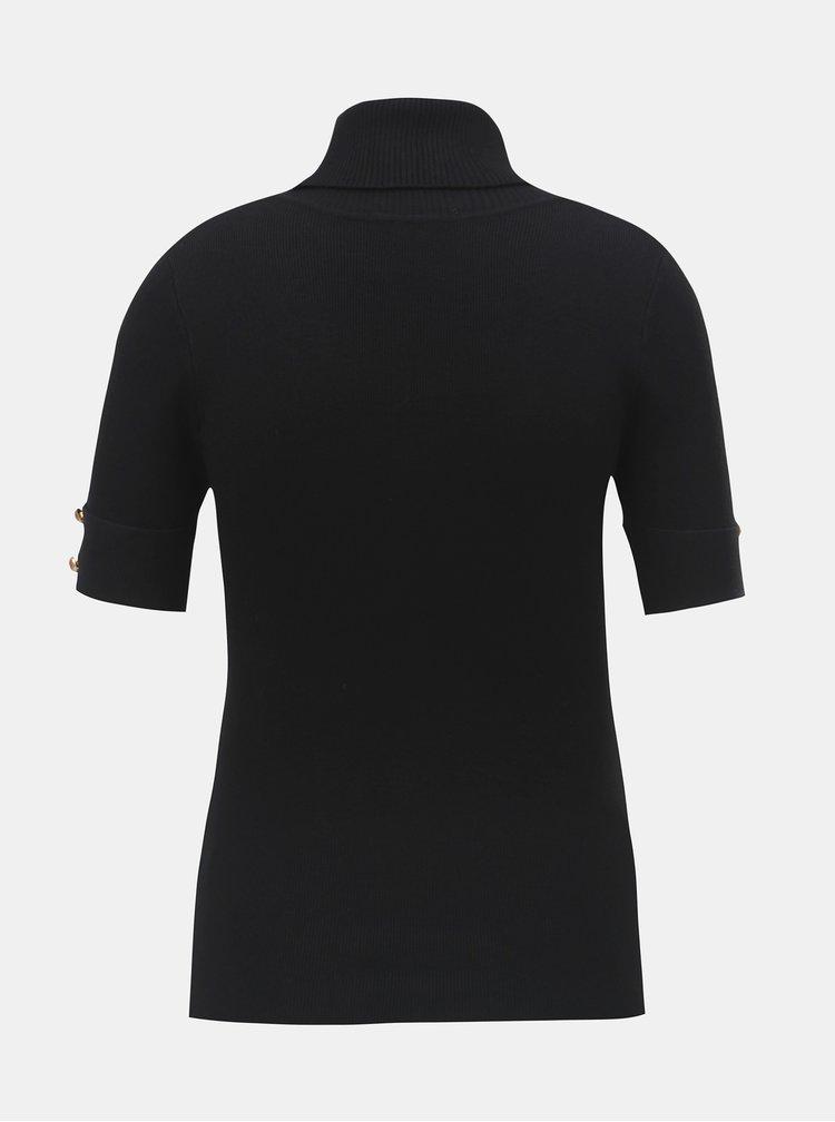 Top negru tricotat cu guler inalt si maneci scurte ZOOT