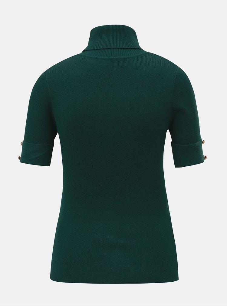 Top verde inchis tricotat cu guler inalt si maneci scurte ZOOT