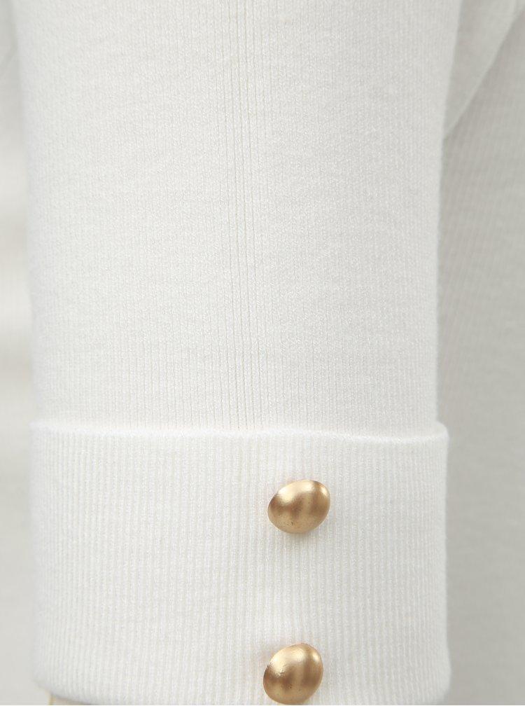 Top alb tricotat cu guler inalt si maneci scurte ZOOT