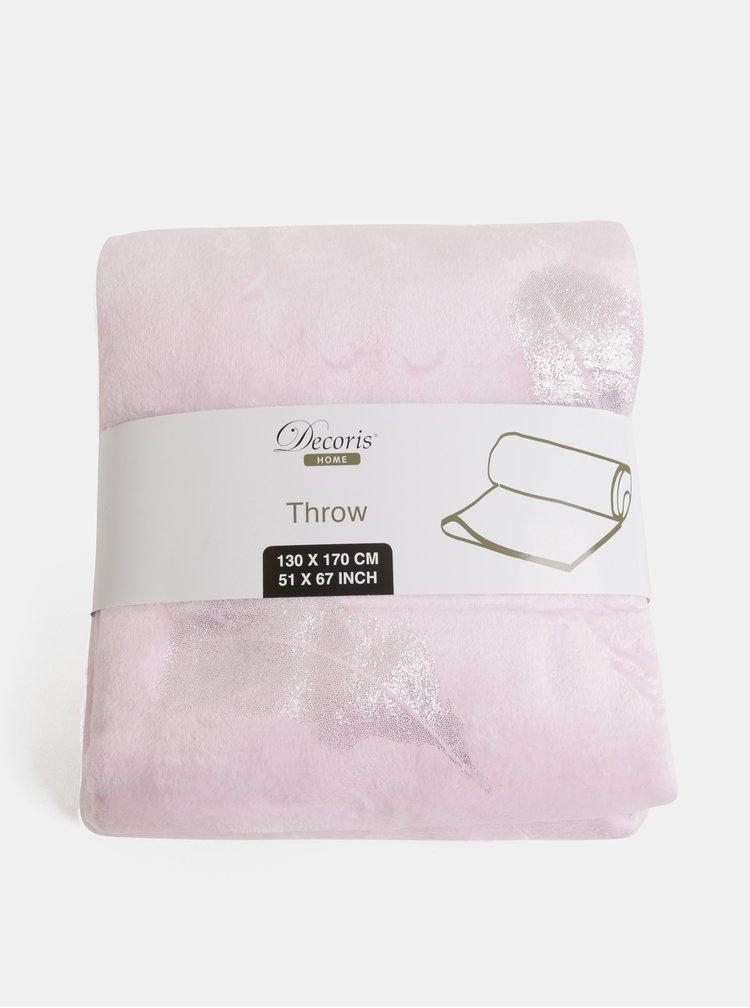 Ružová deka s motívom pierok Kaemingk