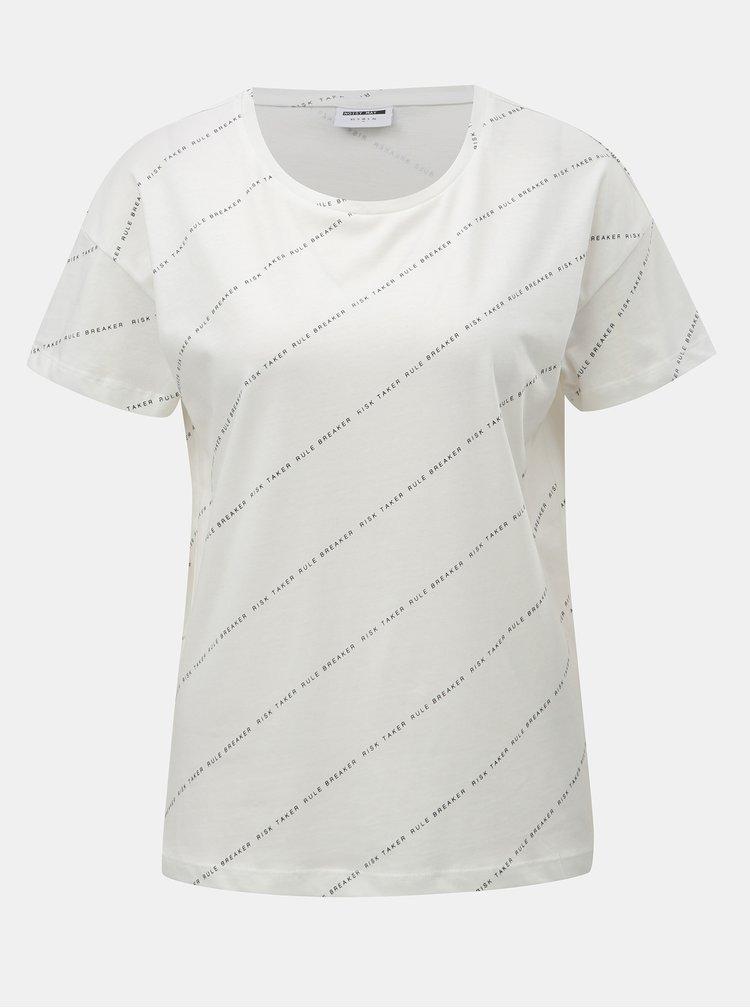 Bílé tričko s potiskem Noisy May Alfred