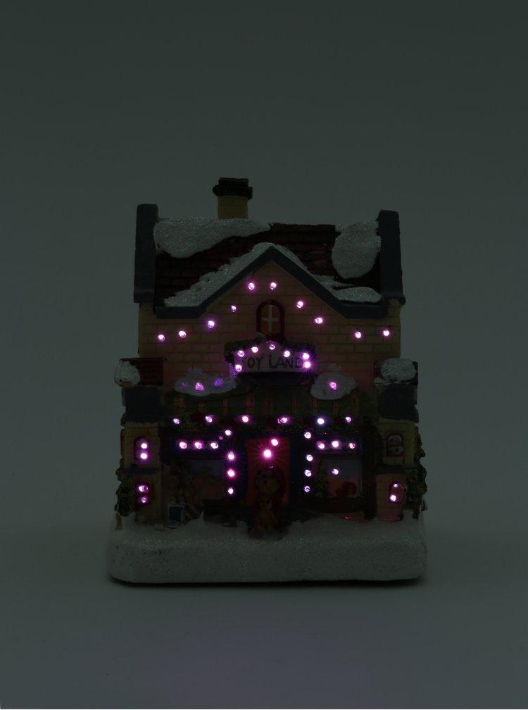 Svítící vánoční dekorace ve tvaru domečku s figurkou medvídka Kaemingk