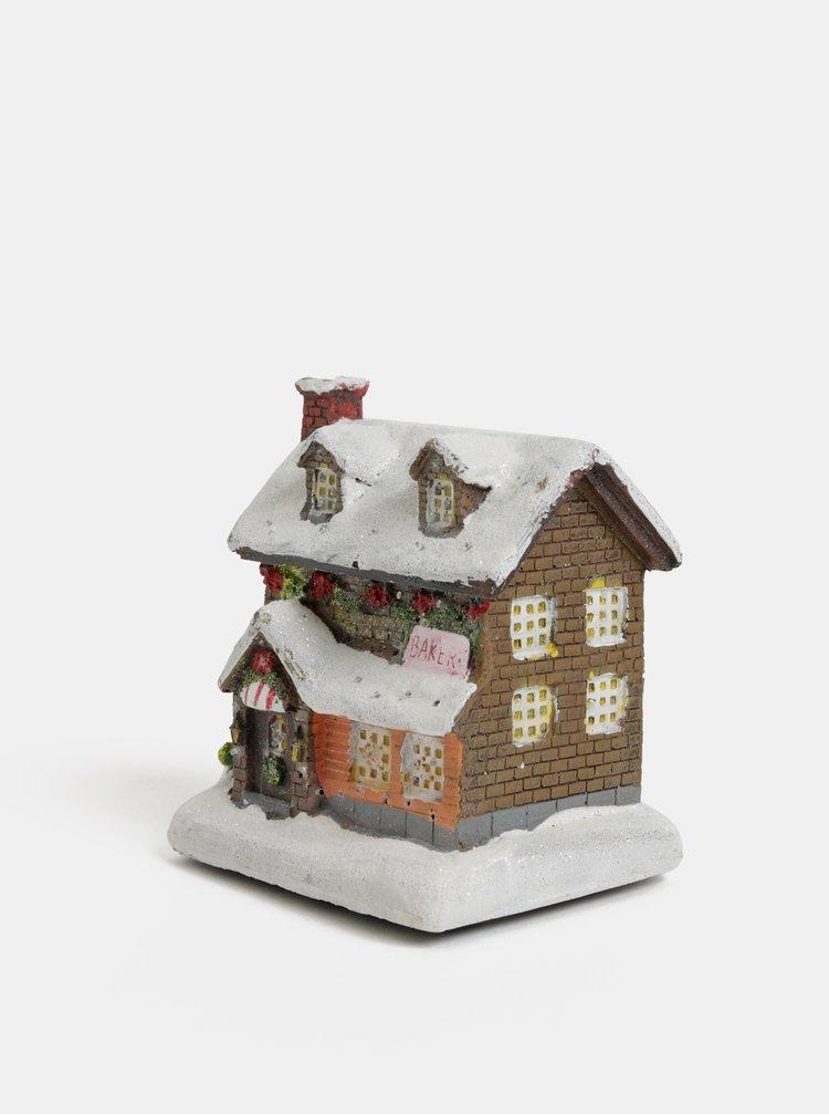 Svítící vánoční dekorace ve tvaru zasněženého domečku Kaemingk