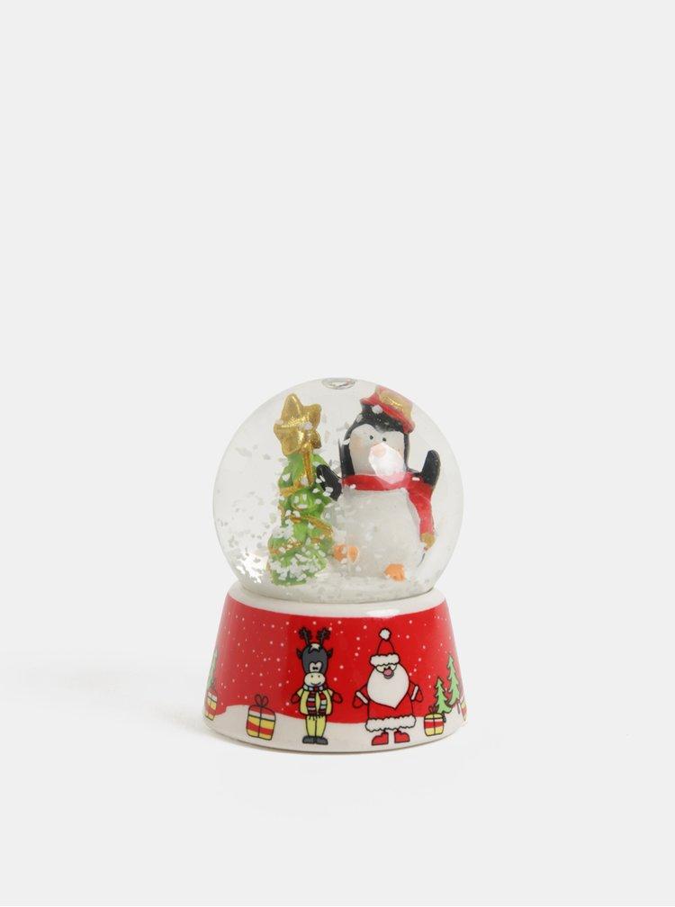 Červené vánoční sněžítko s motivem tučňáka Kaemingk