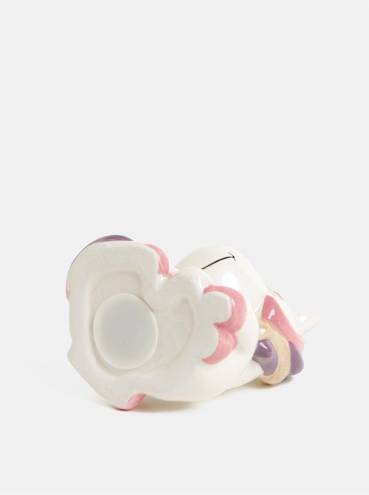 Růžovo-bílá pokladnička ve tvaru spícího jednorožce Kaemingk