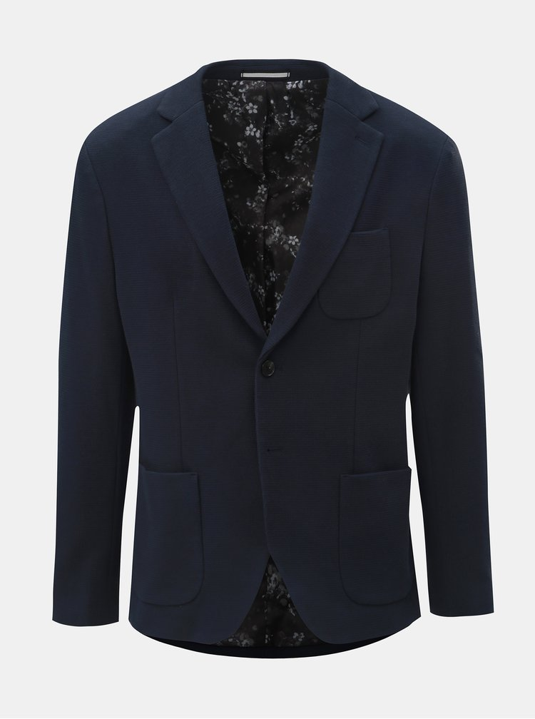 Tmavě modré slim sako s náprsní kapsou Selected Homme Hale