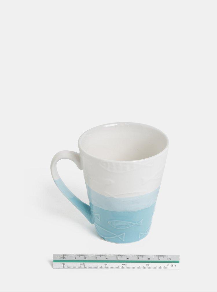 Bílo-modrý vzorovaný hrnek Dakls
