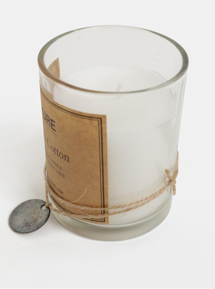 Biela sviečka v skle s vôňou bavlny Kaemingk