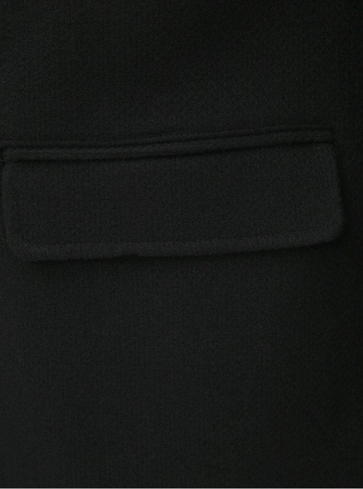 Čierny kabát s prímesou vlny a odnímateľnou prednou vsadkou Selected Homme Hannover