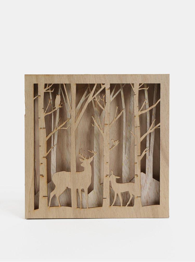 Hnědá dřevěná LED dekorace s motivem lesních zvířátek Kaemingk
