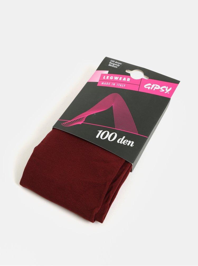 Vínové punčochové kalhoty Gipsy 100 DEN