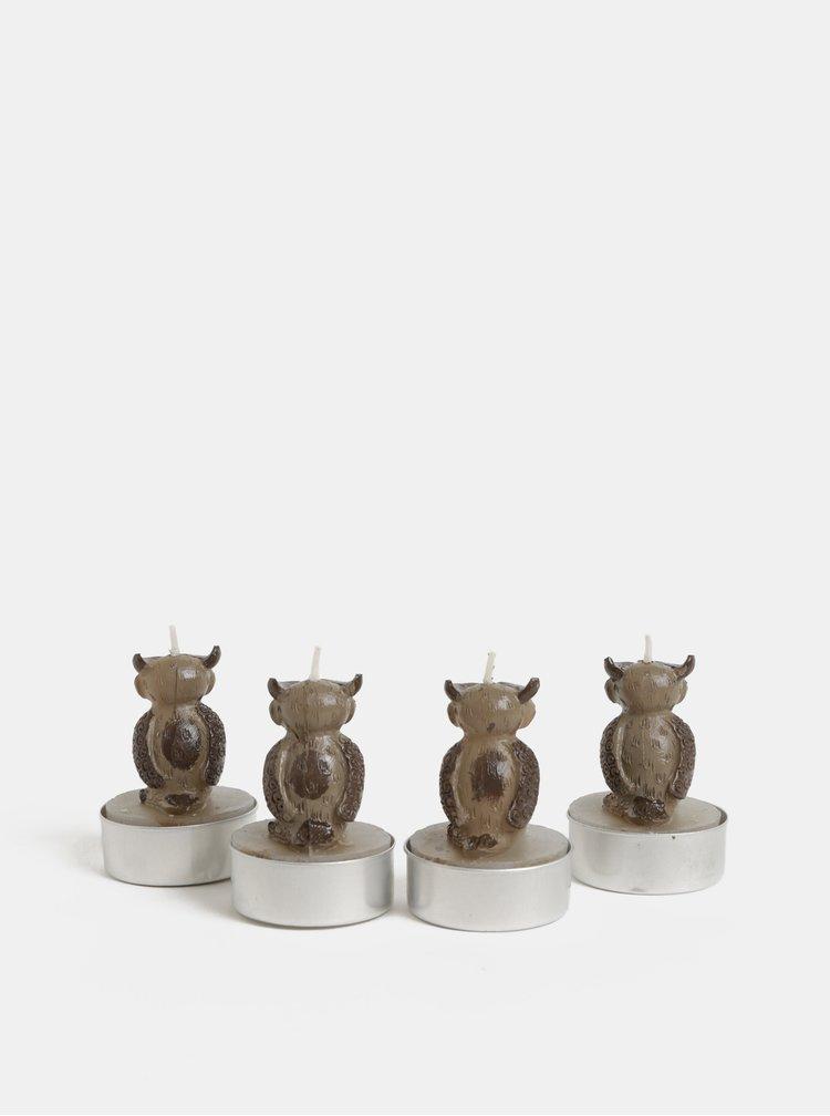 Sada čtyř hnědých čajových svíček ve tvaru sovy Kaemingk