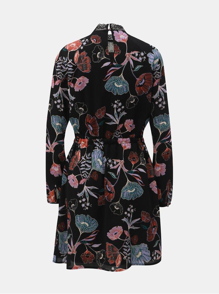 Černé květované šaty s krajkovým sedlem VILA Manu