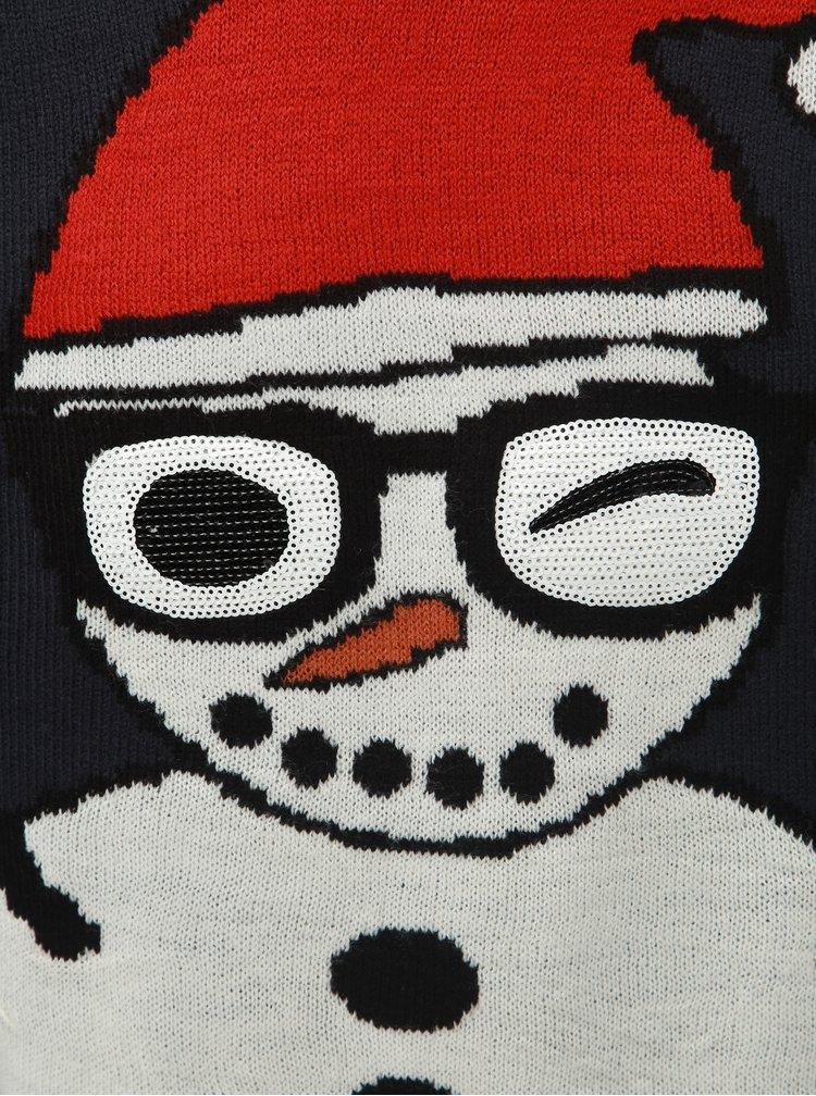 Pulover albastru inchis cu motiv de Craciun ONLY & SONS Snowman