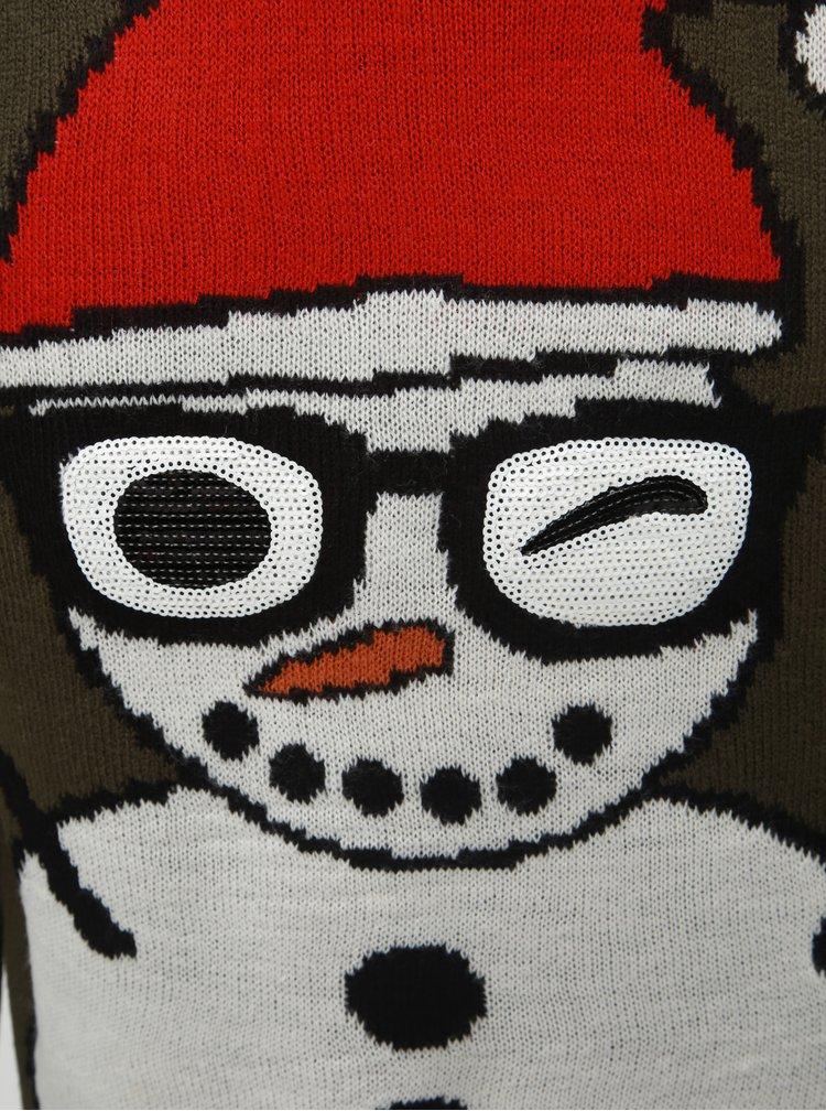 Pulover kaki cu motiv de Craciun ONLY & SONS Snowman