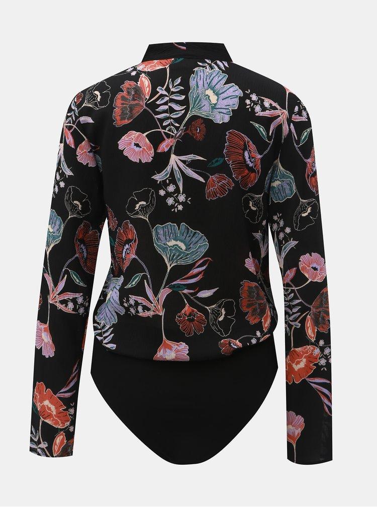 Body negru floral cu decolteu suprapus VILA Manu