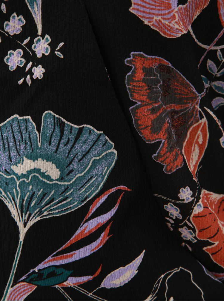 Černé květované body s překládaným výstřihem VILA Manu