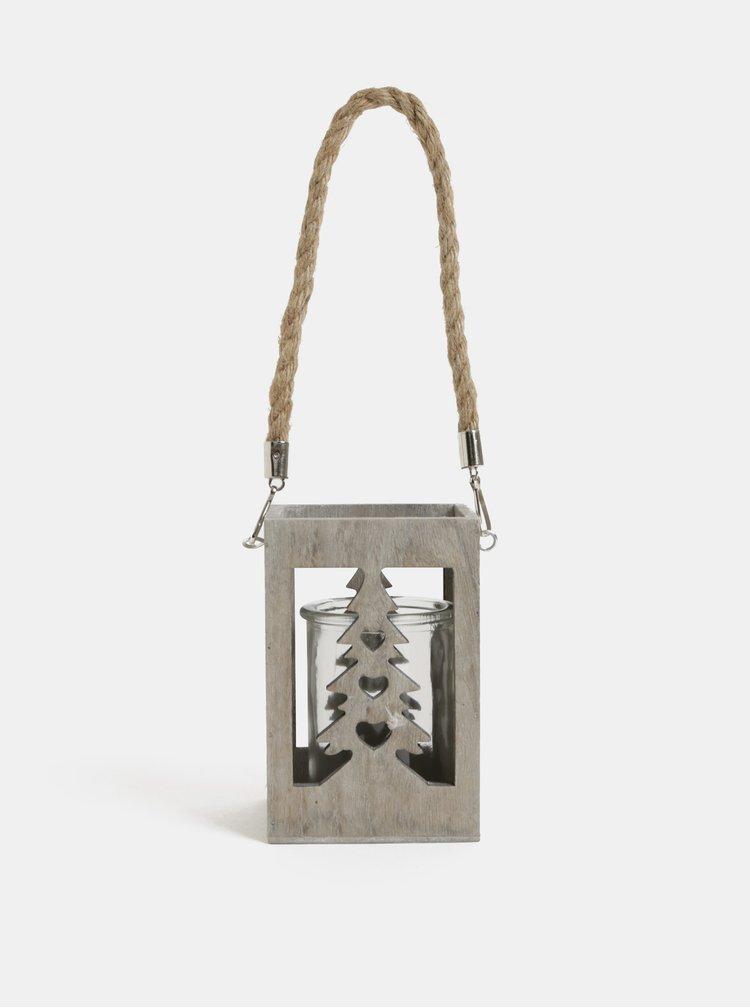 Světle šedá dřevěná lucerna s motivem stromu Kaemingk