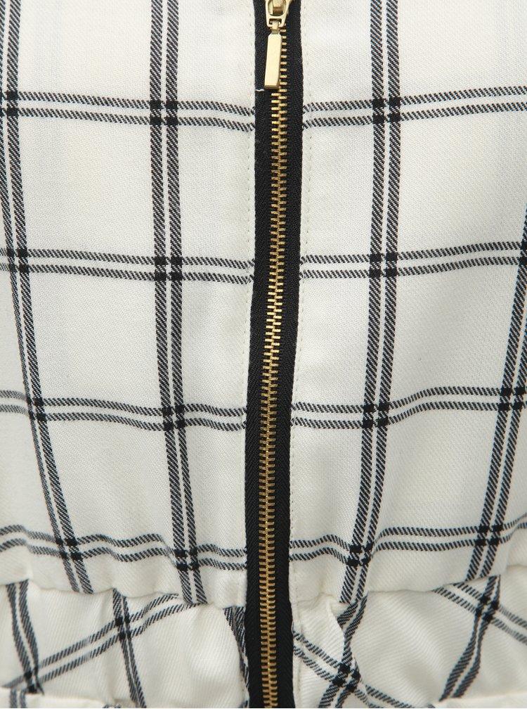 Rochie negru-crem in carouri cu banda elastica in talie si maneci 3/4 SEVERANKA