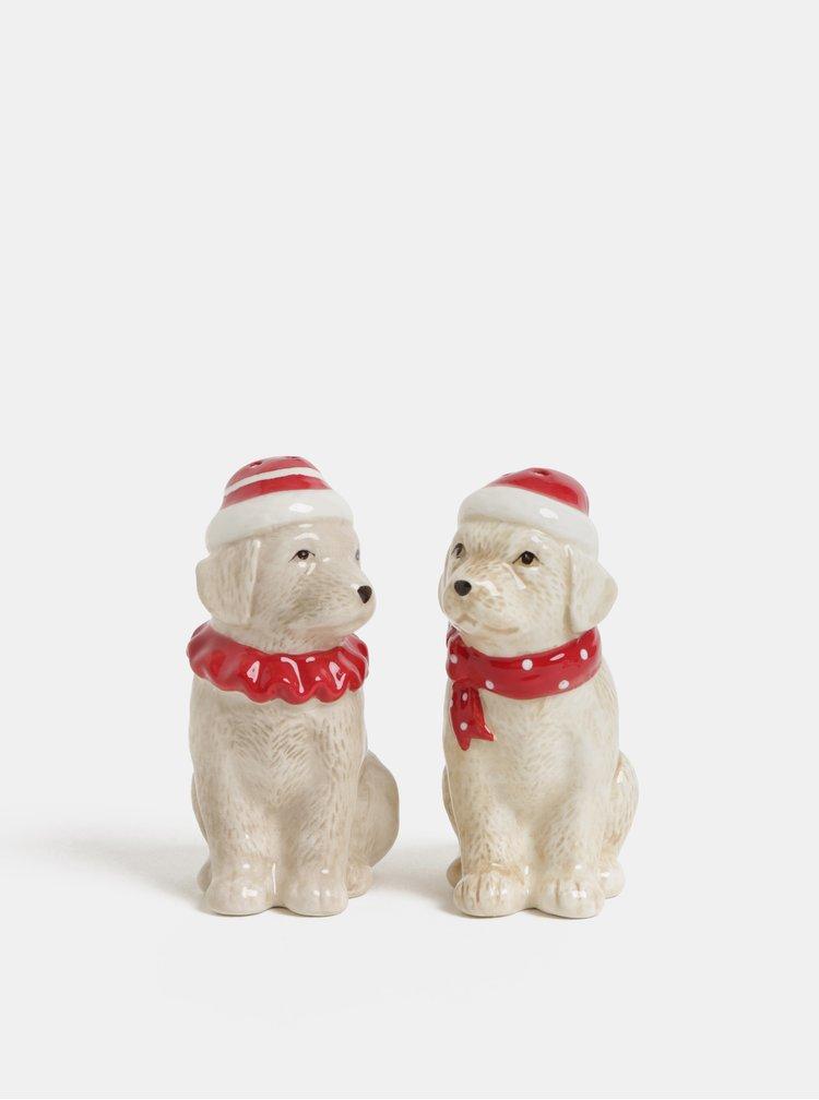 Sada keramické vánoční solničky a pepřenky ve tvaru psů Kaemingk