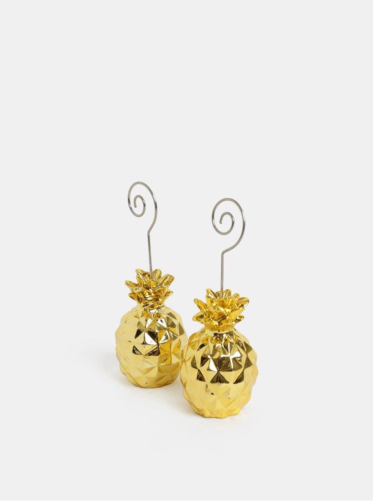 Stojánek na fotku s motivem ananasu ve zlaté barvě Kaemingk