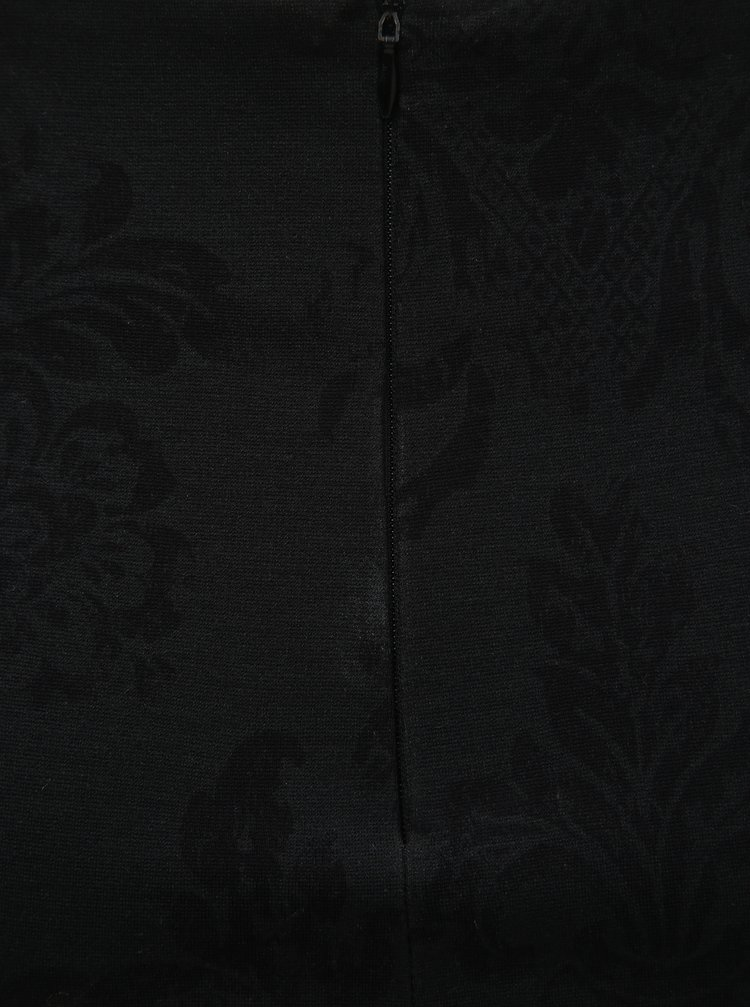 Fusta neagra florala cu taietura la spate SEVERANKA