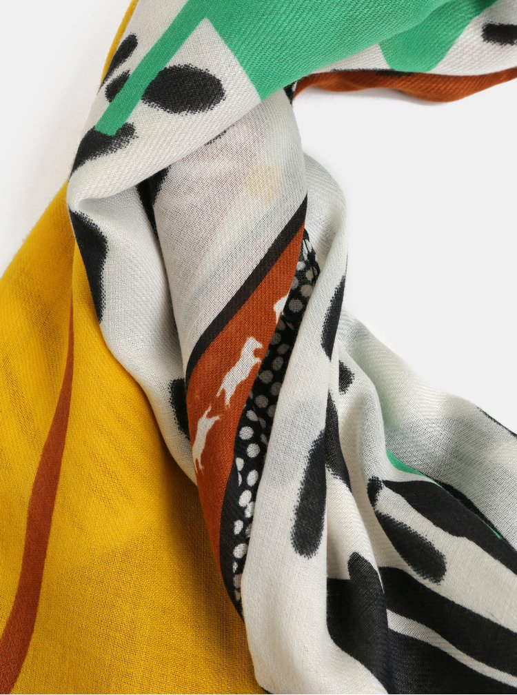 Esarfa maro-alb cu motiv frunze Pieces Obina