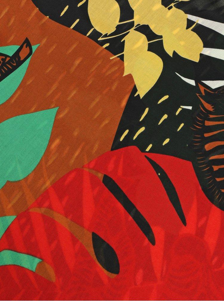 Esarfa maro-negru cu motiv frunze Pieces Obina