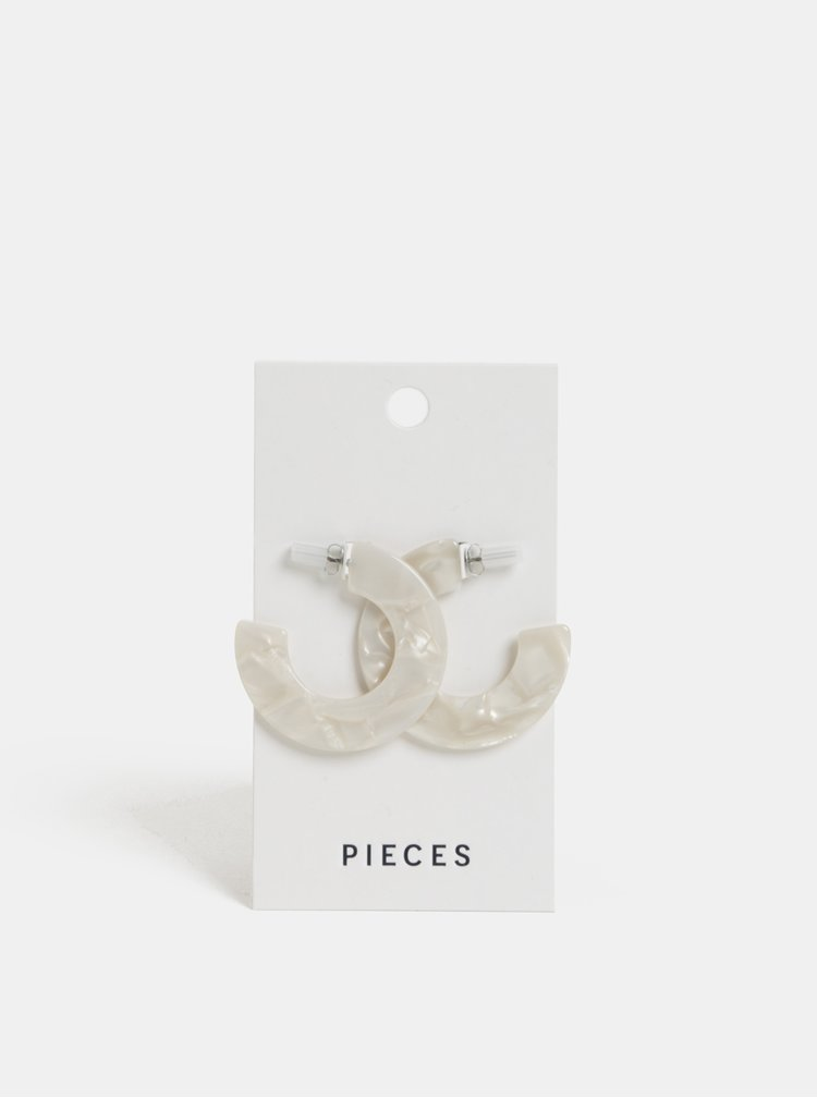 Cercei rotunzi albi Pieces Olivia