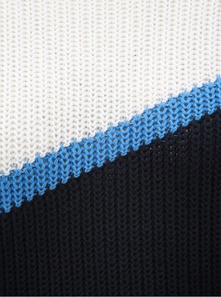 Pulover alb-albastru cu decolteu rotund ONLY Hilde