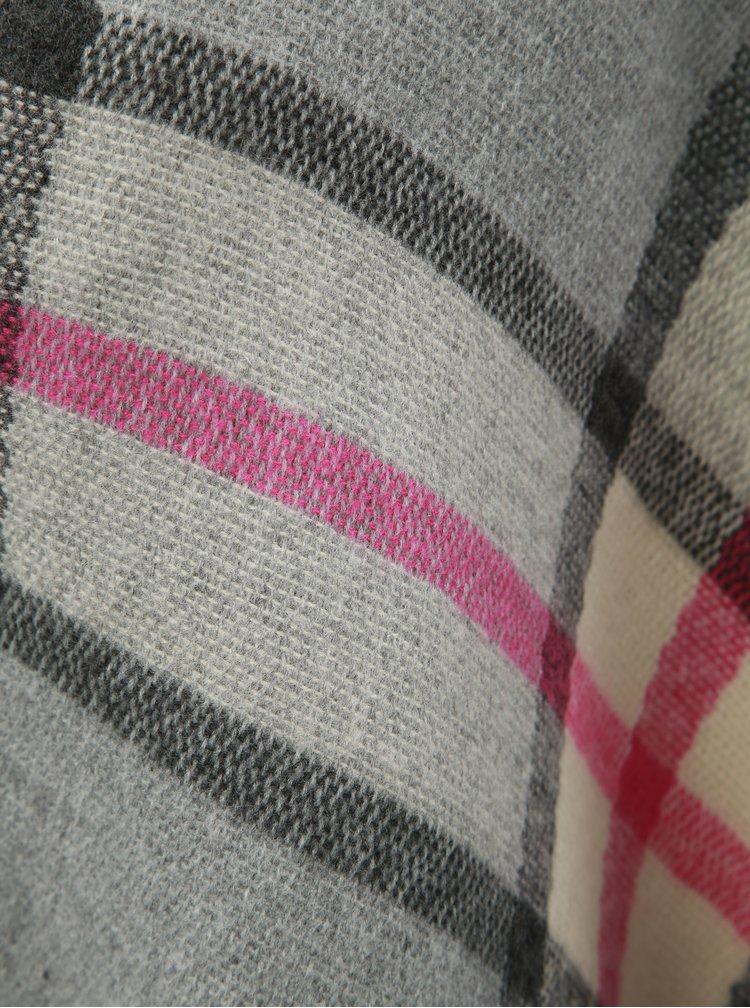 Poncho roz-gri in carouri cu franjuri VERO MODA Maca