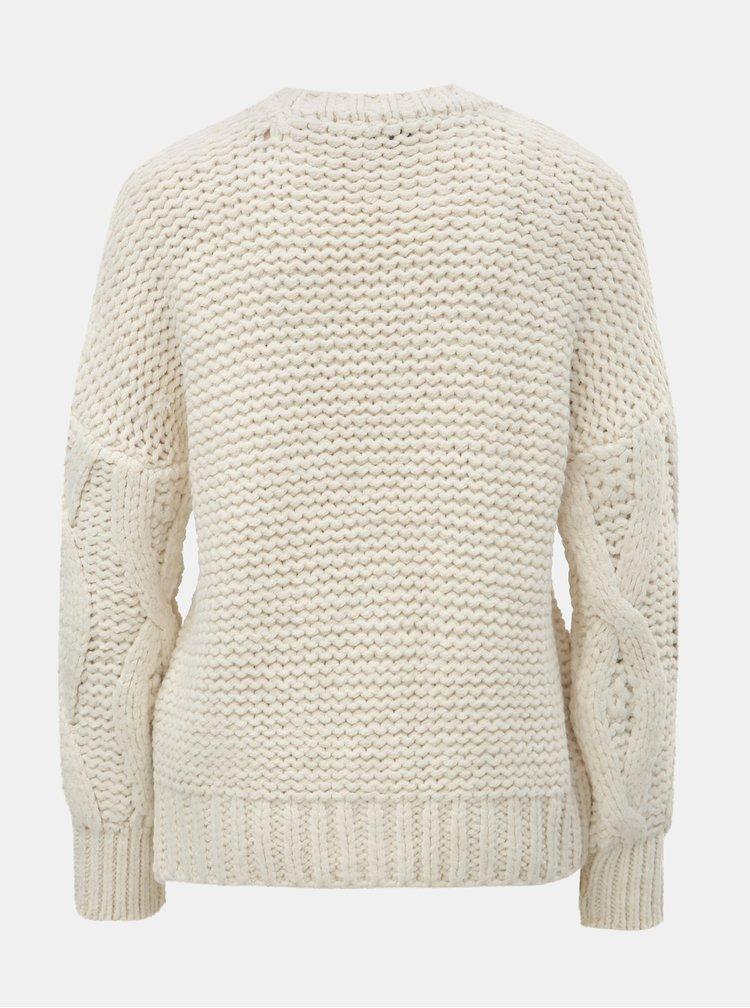 Krémový sveter s okrúhlym výstrihom a plastickým vzorom ONLY Alessa