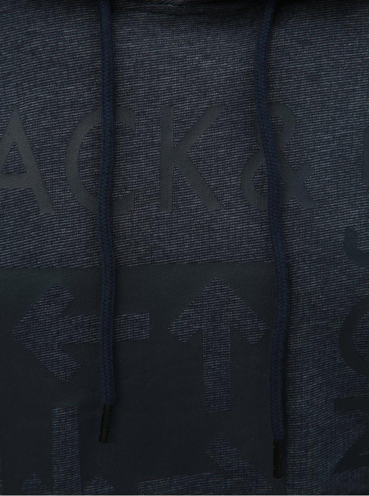 Hanorac albastru melanj cu imprimeu Jack & Jones Marl