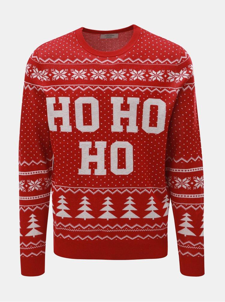 Bílo-červený svetr s vánočním motivem Jack & Jones Flake