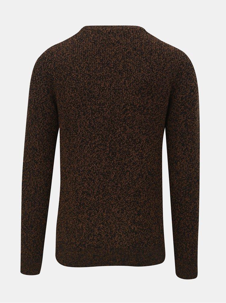Hnědý žíhaný svetr s kulatým výstřihem Jack & Jones Andreas
